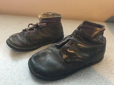 2 VTG CHILDS TODDLERS BABY  LEATHER BROWN BOOTS SHOES Unmatched