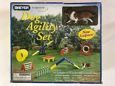 Breyer Dog Agility Set No 1504 Includes 8 Obstacles & 1 Model Dog New In Box