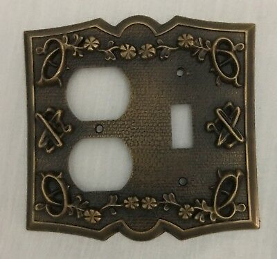 Vtg Cast Metal Single Toggle Light Switch Plate Cover&Double Outlet Scrolls HTF
