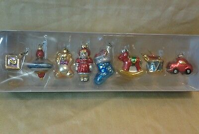 Dept56 Tiny Trimmings Mini Glass Ornaments Christmas Toys set