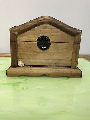 Vintage Wooden Carved Jewelry Trinket Box