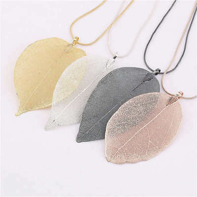 Fashion Jewelry Maxi Necklace Rose Gold Color Chain Real Leaf Charm Design Penda