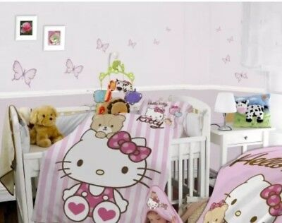 HELLO KITTY - BABY BED LINEN -BED DUVET COVER & PILLOWCASE SET- 100% Cotton New