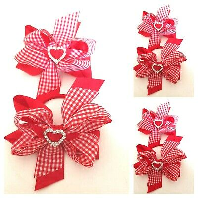 Handmade Girls Red and Gingham School Double Hair Bow Bobbles Sold In Pairs