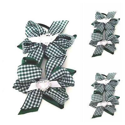 Handmade Girls Green and Gingham School Double Hair Bow Bobbles Sold In Pairs