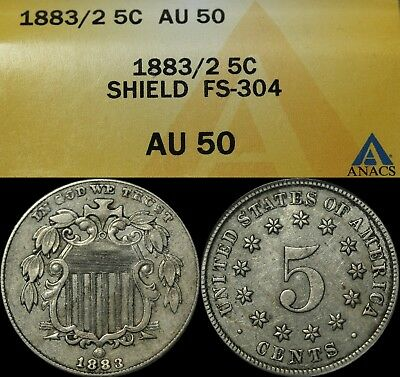 1883/2 FS 304 Shield Nickel ANACS AU 50 - Scarce Overdate - Almost Uncirculated!