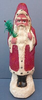 Lovely Vintage Pressed Card Santa Claus Figure 1940s/50s with Goose Feather Tree