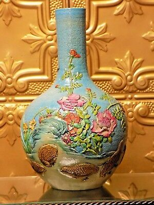 Rare Hand Carved & Painted 15 Inch Chinese Vase Early 20Th Century