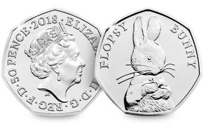 Flopsy Bunny 50p Fifty Pence Coin-Beatrix Potter Series 2018...