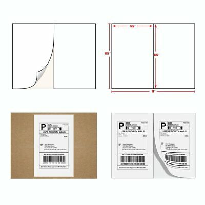 5000 Half Sheet Shipping Postage Labels 8.5x5.5 Self Adhesive For Paypal USPS