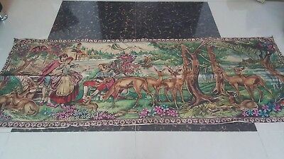 "Antique 19c Aubusson French print Tapestry Beautiful   size 72""x27(cm183x69)"