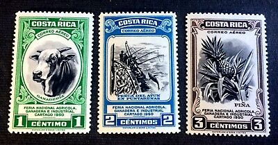3 top old mint hinged stamps Costa Rica 1950