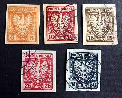 Poland 1919 issue for Galicia - 5 stamps