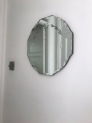 Vintage Beautiful Etched Wooden Backed Mirror