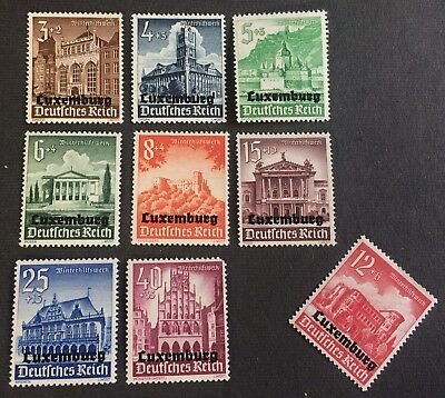 German Occupation of Luxembourg 1940 -  8 used stamps