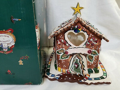 2002 BLUE SKY Clayworks Candycane Bungalow TEALIGHT House IOB Heather Goldminc