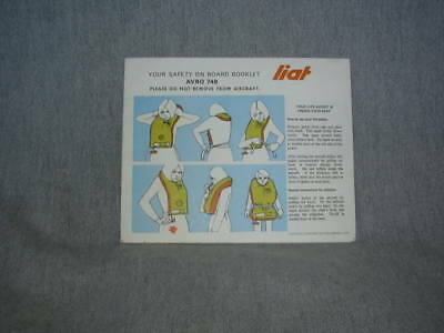LIAT HS-748 Leeward Islands Air Transport Safety Card / Instruction