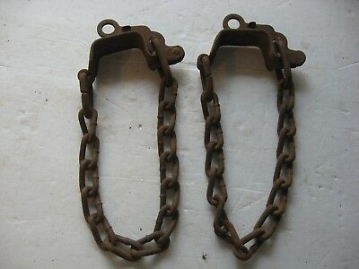 2x Vintage Rusty Iron Tire Chains Steampunk Plant Hanger Metal Art Old Barn Find