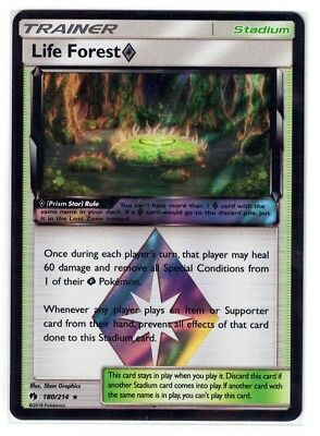 180//214 Pokemon Card Lost Thunder Life Forest Prism Excellent