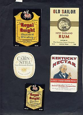 FIVE Assorted WHISKEY LABELS Unused