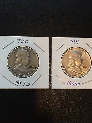 Two - Franklin Half Dollars - Silver - Circulated