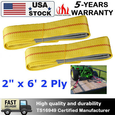 """6' x 2""""  2-Ply Nylon Web Sling Lift Tow Strap Heavy Duty Polyester Web Loop Ends"""