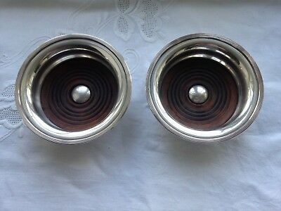 Pair Of Vintage Silver Plated Wine Bottle Coasters