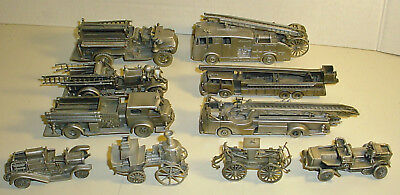 Lot of 10 Franklin Mint Fire Engines of the World Collection Pewter Replicas