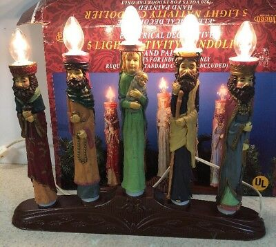 VINTAGE CHRISTMAS 5 LIGHT ELECTRIC NATIVITY Kings CANDOLIER HAND PAINTED W/ BOX