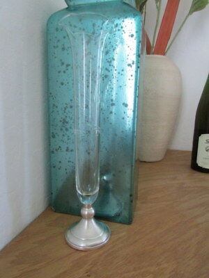 """Vintage Web Sterling Silver & Etched Glass Fluted Bud Vase 11"""" Tall Wheat"""
