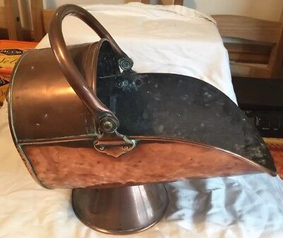 Antique Victorian Large All Copper Coal Scuttle