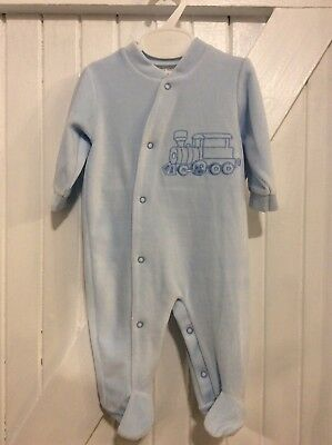 Traditional Baby Boy 6 Month Spanish Design NEW Blue Velour Babygrow Train Motif