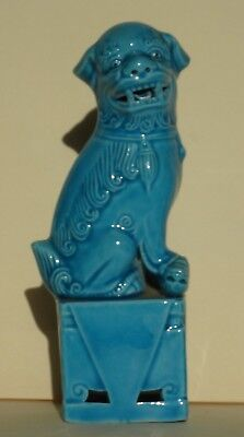 Vintage Turquoise Blue Chinese Foo Dog and Pup Figurine Statue