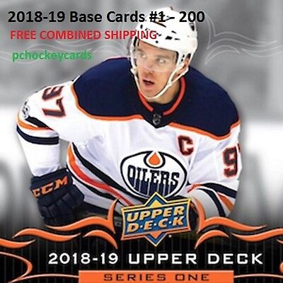 2018-19 18/19 Upper Deck Series 1 Base Cards #1 - #200 You Pick Finish Your Set