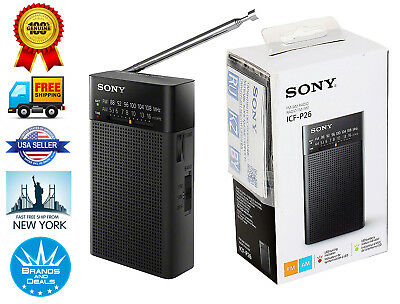 New Genuine Sony ICF-P26 Portable Pocket FM/AM Radio Built-in Speaker Black