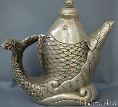 Collectable Handwork Old Miao SIlver Carve Big Lotus Goldfish Decoration Tea Pot