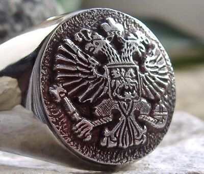 Russland Adler Russia Ring Siegelring Wappen Chevaliere Bague Medal Pin Silber