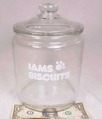 Vintage Iams Advertising Dog Treat Large Lidded Glass Jar Counter Display