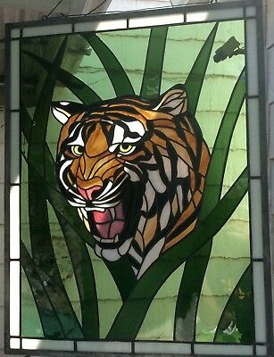 "Vintage Large Stained Glass Tiger 26.5""x 20.5 """