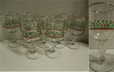 7 Arbys Christmas Holly Berry Wine Goblet Glasse Libbey Bow Stem 80s Collectable