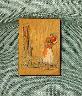 Vintage 50s/60s Small Mexican Wood Box-Saguaro Cactus/Old Woman Applied to Top