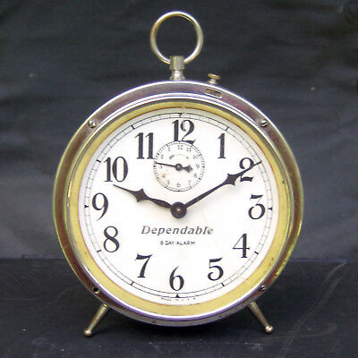 Vintage Dependable Wind Up Eight Day Alarm Clock For Parts or Restore Made USA