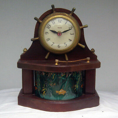 Vintage United Fish in the Sea Animated Motion Novelty Ships Wheel Electric Cloc