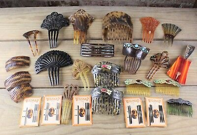 25 Pc Collection Of Vintage Hair Combs Peinetas And Others Tortoise Shell Nr