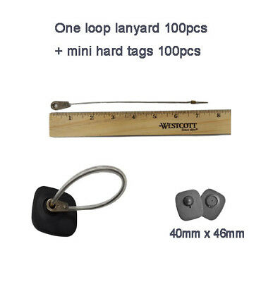 One loop lanyard 100pcs with mini hard tags 100pcs security RF 8.2Mhz