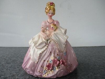 """Vintage Josef Originals Mother And Baby 6 3/4"""" Tall Roses And Gold Trim Japan"""