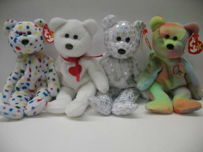 LOT of 4 TY RETIRED Beanie Baby Babies Ty 2K Valentino The Beginning Peace Bears