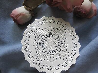 """7Pc Vtg 3.5"""" In Lace Off White Victorian Round Paper Doily Card Scrapbook"""