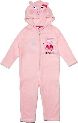Peppa Pig Girls Fleece Long Sleeve Pyjamas All-In-One