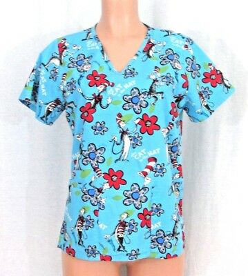 10a16f90597 Dr Seuss by Cherokee Size XS Cat In The Hat Scrub Top Turquoise Multi Color